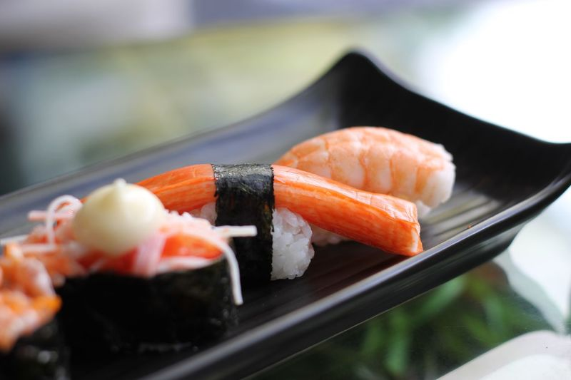 Seafood Sushi Japanese Food Asian Food Food And Drink Rice Food Close-up Freshness Ready-to-eat Indoors  Rice - Food Staple Plate Meal Vertebrate Focus On Foreground Fish No People Healthy Eating Wellbeing Meal Japanese Food Seafood Rice Sushi Food And Drink Freshness Indoors