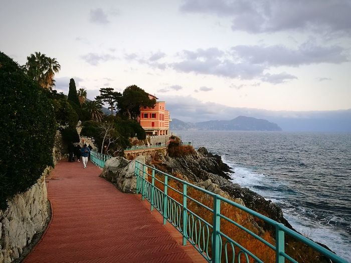 Sea Outdoors Steps Vacations Beauty In Nature Water Beach Liguria Di Levante Cliffs Rocks And Water Liguriansea One Man Only Genova Nervi Italy Scenics Landscape Architecture No People Sky Day Path Pathway