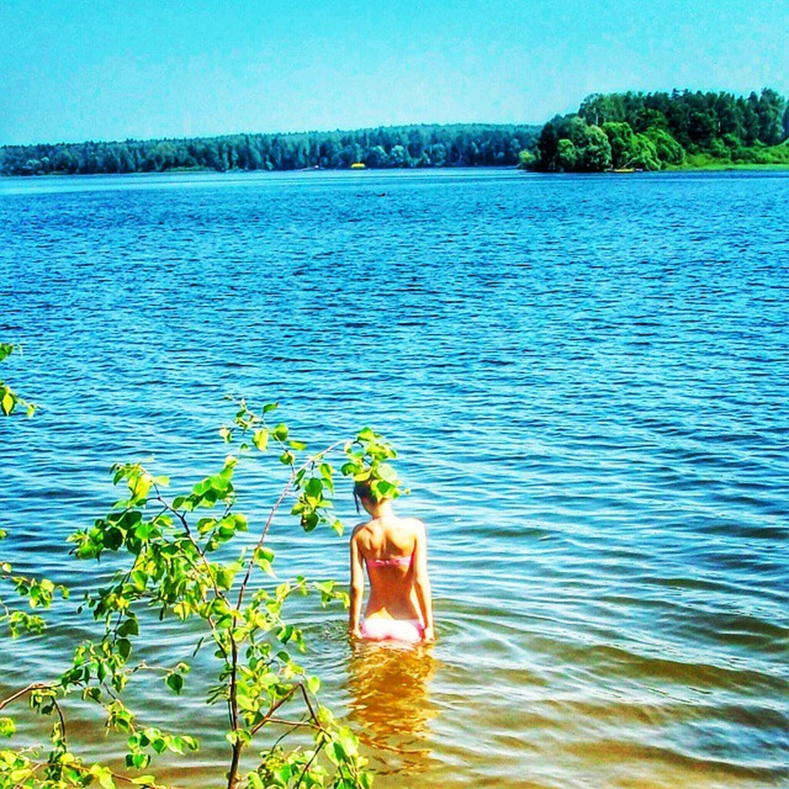 water, blue, tranquility, tranquil scene, rear view, lake, beauty in nature, scenics, rippled, nature, clear sky, idyllic, standing, leisure activity, lifestyles, person, men, tree