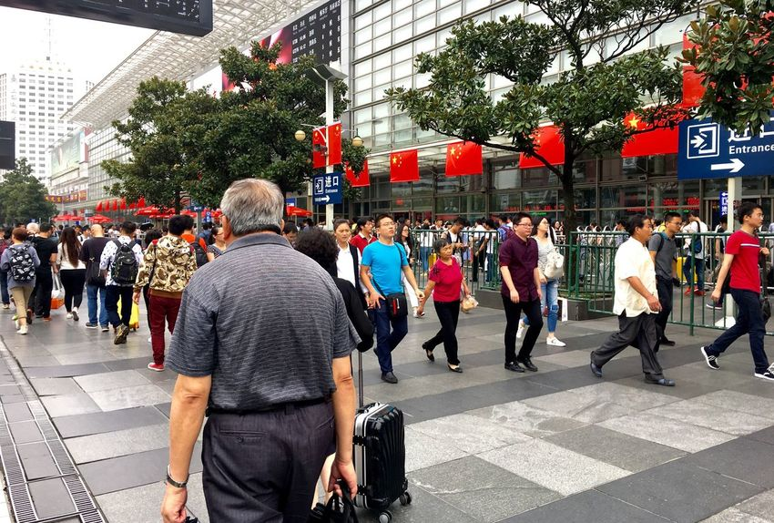 Chinese National Holidays Large Group Of People City Building Exterior Architecture Built Structure Men City Life Walking Street Lifestyles Person Standing City Street Crowd Casual Clothing Outdoors Day Sky