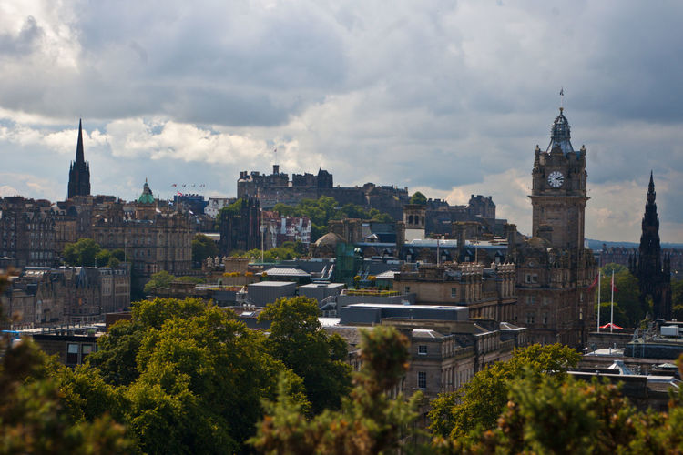 Calton Hill Architecture Building Exterior Built Structure City Cityscape Clock Tower Cloud - Sky Day No People Outdoors Sky Tower Travel Destinations Tree