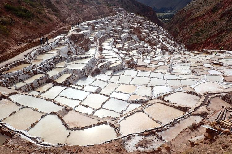 High Angle View Of Salt Basin On Mountain