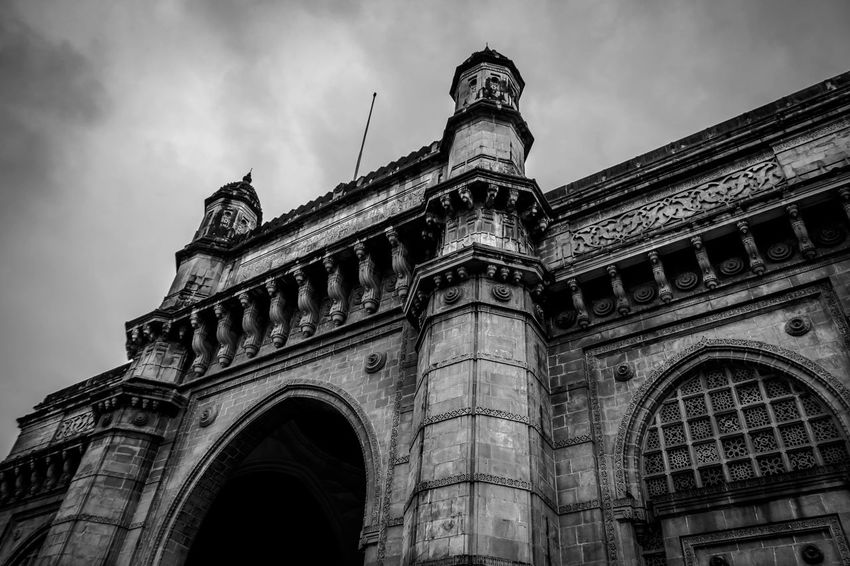 Arch Architecture Black And White Building Exterior Built Structure City Day Gatewayofindia India Inspiroindia Low Angle View Mumbai No People Outdoors Sky Travel Destinations