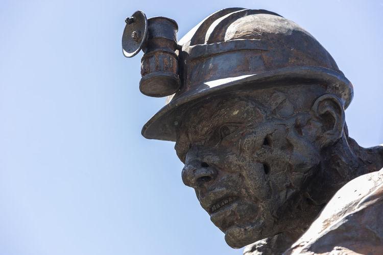 Minero Clear Sky Sculpture Sky Human Representation Representation Statue History Metal Blue Mine Mineral