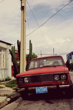 Vintage car Retro Car Streetside Cactus Retro Style Transportation Sky Car Mode Of Transport Land Vehicle Outdoors Built Structure Architecture No People Cloud - Sky Red Building Exterior Day Nature