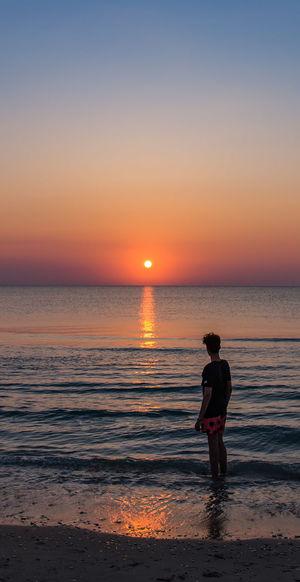 me. Alba Sunrise Water Sun Me Wave Sea Full Length Sunset Beach Men Standing Multi Colored Summer Surf Water Sport Coast Shore Surfing Coastal Feature