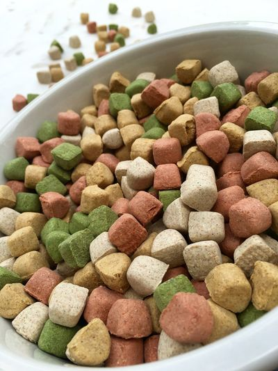 Close-Up Of Dog Food In Bowl