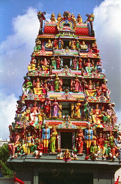 Chetiar's Hindu Temple, Tank Road Architecture Art Blue Sky White Clouds Colourful Composition Culture Cultures Deities Human Representations No People Outdoor Photography Place Of Worship Religion Sculpture Singapore Spirituality Statue Temple Temple - Building Tourist Attraction  Tower