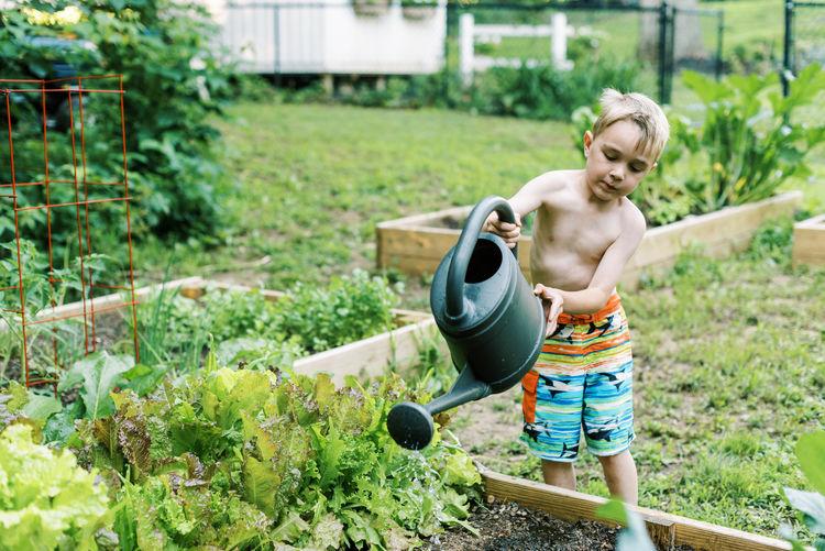 Full length of shirtless boy in yard