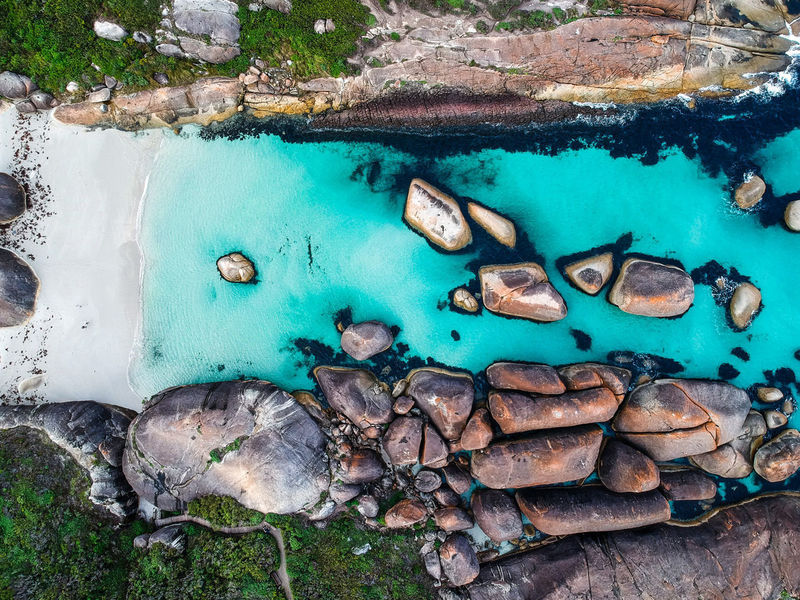 flying over the rocks Drone  Dronephotography Droneshot Elephant Rocks Western Australia Australia Australian Landscape Road Trip Blue Water Rocks And Water Water Beach Sea High Angle View Close-up