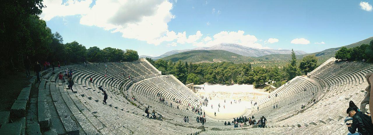 Cloud - Sky Epidaurus; Argolida; Peloponnese; Greece; Ancient; Culture; Theatre; Summer; Theater; Argolis; Epidavros; Background; Landscape; Architecture; Antique; Stone; Classic; Classical; Stage; Panoramic; Marble; Greek; Ruin; Steps; Stairs; Amphitheater Epidaurus First Eyeem Photo
