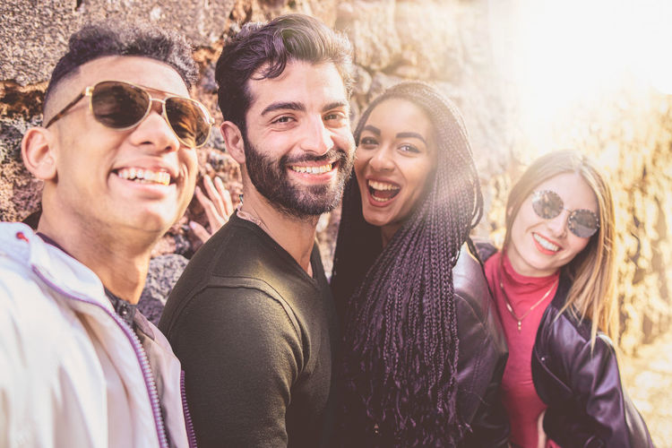 Portrait of smiling young people having fun