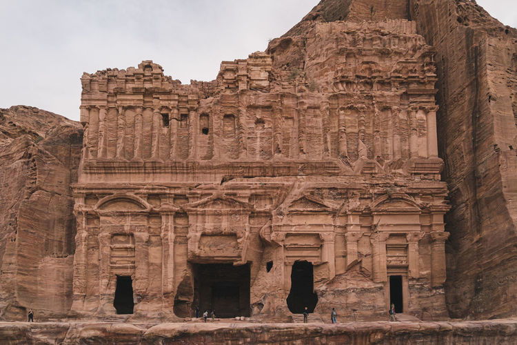 Low angle view of alright buildings in petra