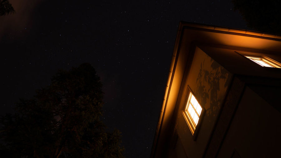 Architecture Astronomy Building Building Exterior Built Structure Dark House Illuminated Low Angle View Nature Night No People Outdoors Plant Residential District Sky Space Star - Space Tree Window 17.62°