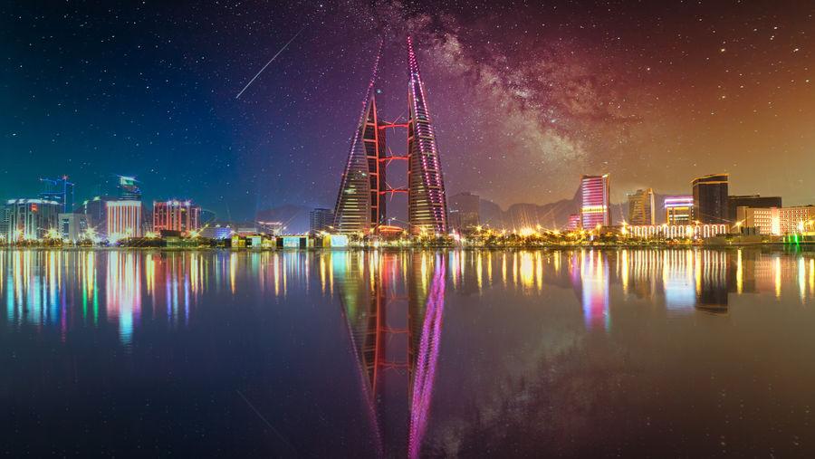 A dreamy scene of the bahrain world trade center