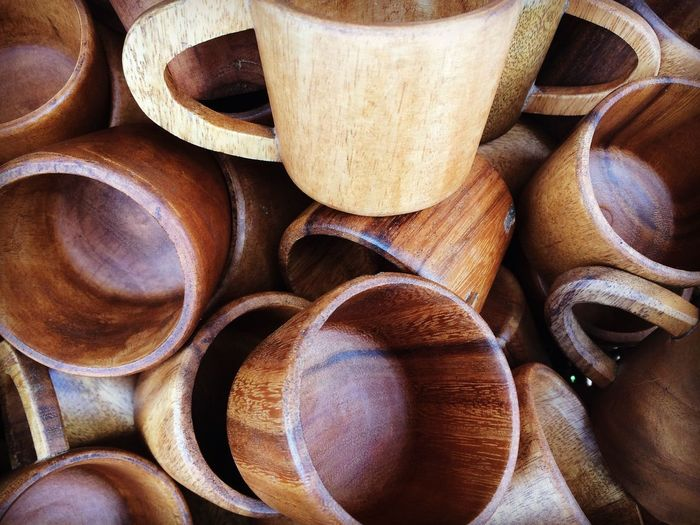 Wooden cups.