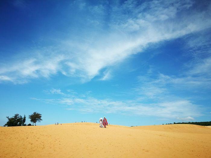 Couple walking on sand against sky