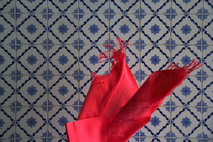 Scarf Face Blue Tiles Close-up Contrasting Colors Contrasting Textures Day Hairy But Fun Human Representation No People Outdoors Pattern Red Scarf Kind Of Day Scarf Season Scarf ❄✌ Singing My Heart Out Squares And Rectangles Beautifully Organized My Year My View Break The Mold