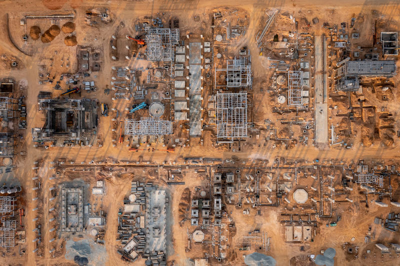 Aerial top view construction area of crude oil refinery plant in thailand