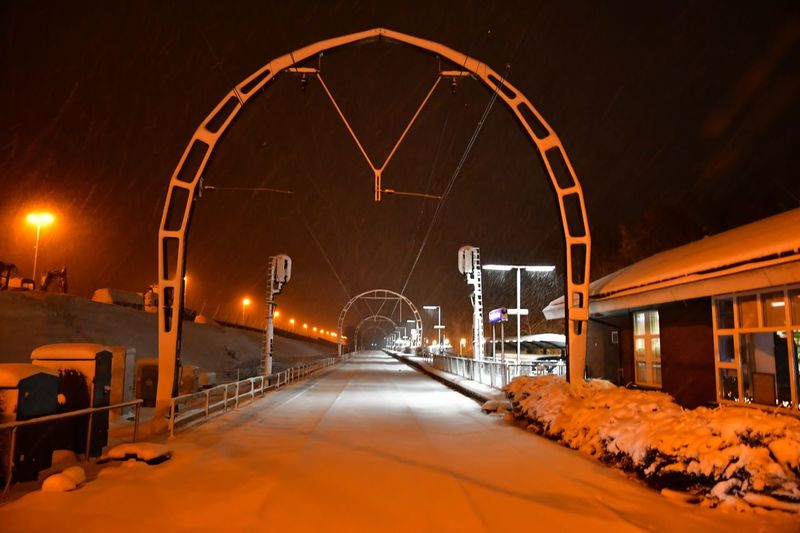 Night Winter Illuminated Cold Temperature Snow Built Structure Architecture