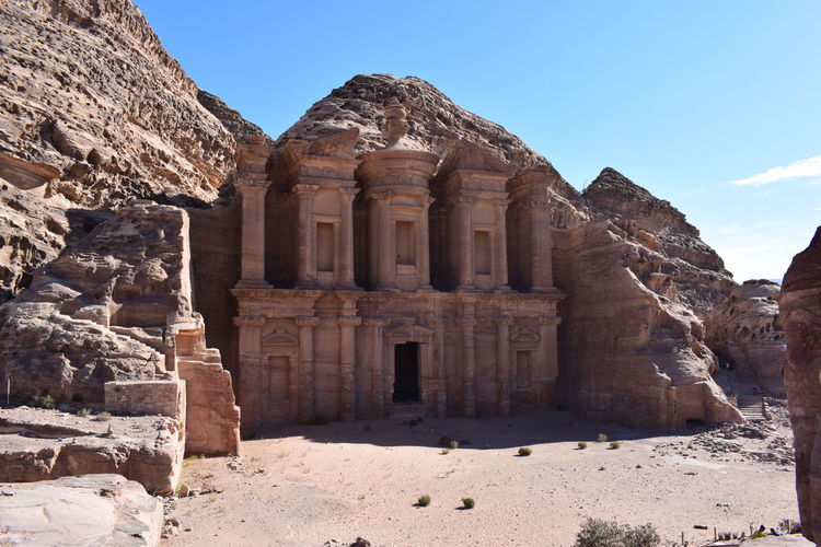 Ancient Ancient Civilization Travel Destinations Built Structure Old Ruin Tourism Nature Old The Past History Sky Architecture Architectural Column Archaeology Petra Monestry Jordan No People Clear Sky Outdoors Column Stone Mountain Brown Sand