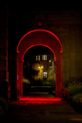 Underneath the arches Arch Architecture Building Exterior Built Structure Illuminated Kelvingrove Night No People Outdoors Red