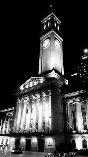 King George Square Motoz MotozDroid Photography Blackandwhite Nightphotography King George King George Square Illuminated Building Exterior Built Structure Travel Destinations Low Angle View Clock Tower Arts Culture And Entertainment Clock EyeEmNewHere