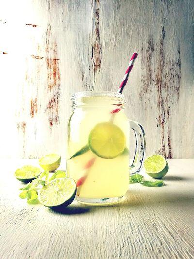 Close-up of lemonade in carafe