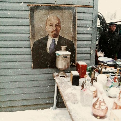 Outdoors Winter Lifestyles Food And Drink One Person Real People Snow Day Food Cold Temperature One Man Only Adult People Adults Only Only Men Samovar Lenin Rasha Rassiya