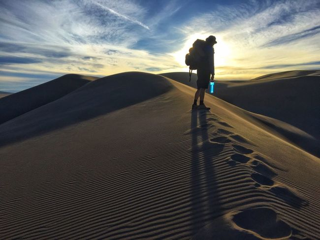 Backpacking Great Sand Dunes One Person Sky Full Length Real People Tranquil Scene Leisure Activity Be. Ready. Outdoors Nature Men Sand Dune Sunset Scenics Tranquility