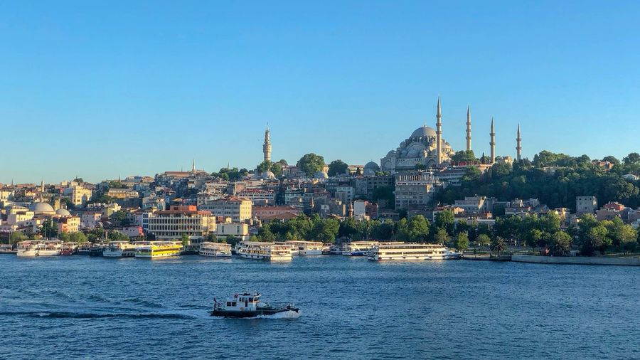 View of Suleymaniye Mosque at sunset across the Golden Horn, Istanbul Architecture Building Exterior City Mosque No People Sky Water Waterfront