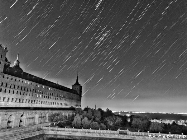 Monochrome Photography Capturing Motion Star - Space Architecture Built Structure Building Exterior Night Astronomy Sky Majestic Star Field Tranquility Nature Outdoors No People Tourism HD Awesome_shots Black&white Mobilephotography Long Exposure