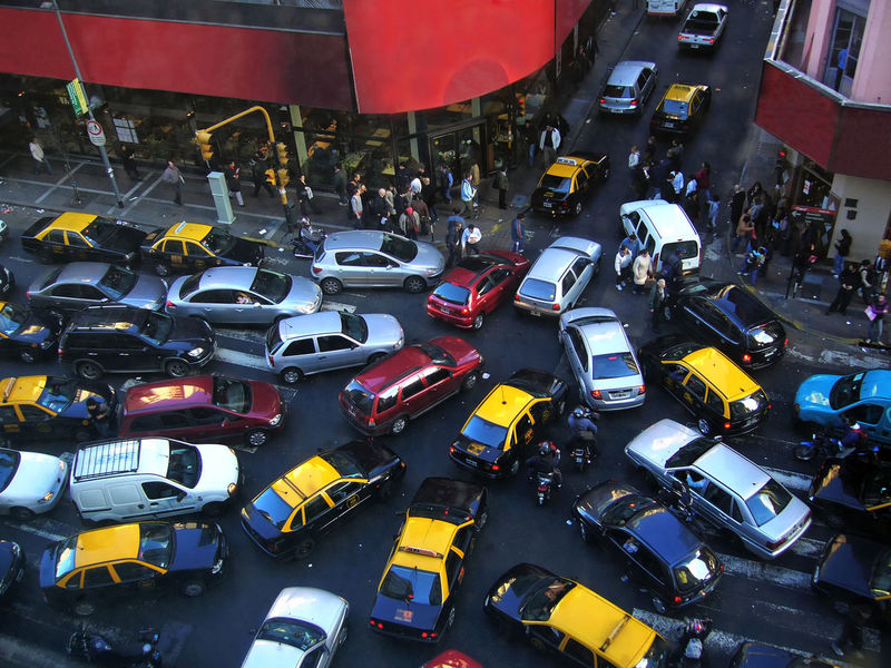Which Way? Car City Life Day High Angle View Outdoors People Street Corner Street Photography Taxis Traffic Jam