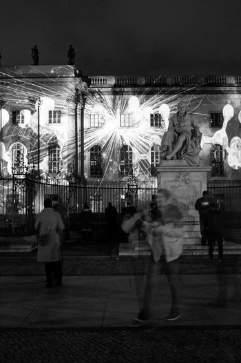 Festival Of Lights 2015 Humboldt Universität  Nightphotography Seeing The Sights B&w Street Photography Arts Culture And Entertainment Night Light Blurred Motion Blackandwhite Battle Of The Cities Overnight Success Monochrome Photography