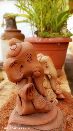 Art And Craft Statue Sculpture Focus On Foreground Beginner Mobilephotography Beginnerphotographer Clayganesha MotoClick Religion And Tradition IndianCultureEmbraced Festivalphotography Ganeshchaturthispecial LordGanesha