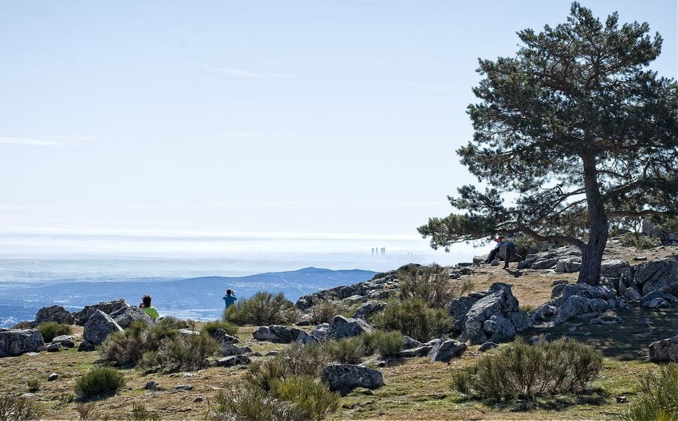 View of Madrid with fog from the top of the mountain Adventure Contemplating Day EyeEm Best Shots EyeEm Nature Lover FAR AWAY Fog From Above  From Above The Clouds Hiking Madrid Nature Outdoors Panorama People People On The Mountain People Watching Rear View Scenics Skyline