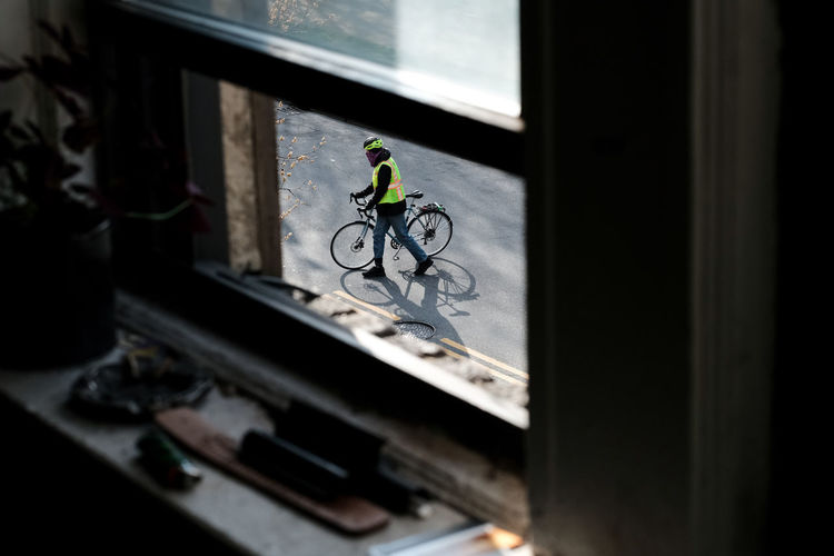 High angle view of bicycle on window