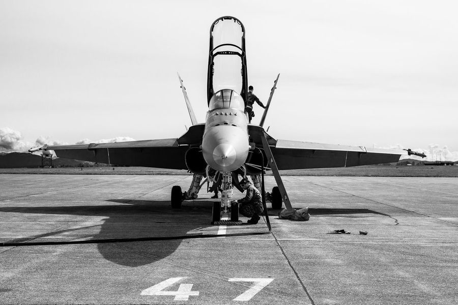 Preflight Check FA 18 RCAF Runway Runway Show Aircraft Airforce Airplane Fighter Fighter Jet Lone Aircraft