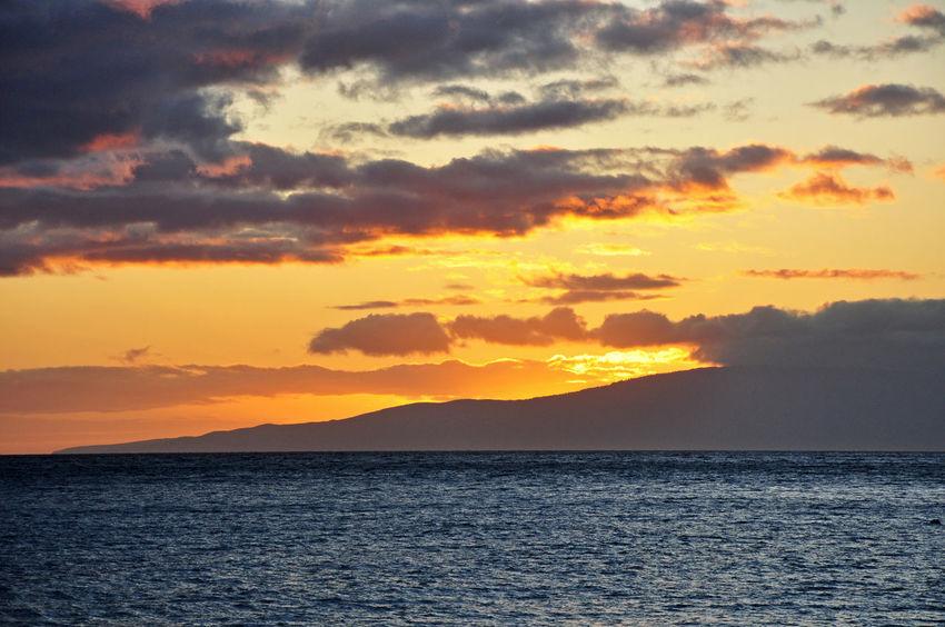 Sunset from Maui Hawaii, near Kaanapali Beach Hawaii Maui Kaanapali Nature No People Sea Sunset Tranquil Scene Water