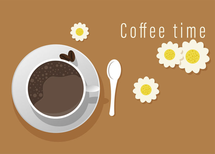 Top view of a cup of coffee with spoon and blossoms on brown background Coffee Time Spoon Text Background Blossom Breakfast Coffee Coffee - Drink Coffee Cup Cup Cup Of Coffee Drink Food And Drink High Angle View Illustration Indoors  Mug No People Non-alcoholic Beverage Still Life Top Viev Vector Art