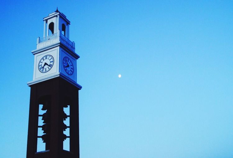 Blue Moon Low Angle View Clear Sky Built Structure Copy Space Architecture Tower Outdoors Tall - High High Section Sky Bell Tower No People Blue Color History Eclipse