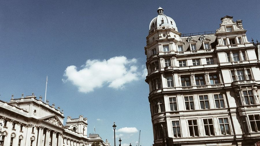 Low angle view of historic buildings against sky