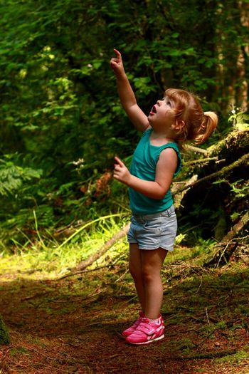 Childhood Arms Raised One Person Human Arm Full Length Casual Clothing Outdoors Child Children Only Leisure Activity Tree Standing Girls Forest Day Nature Lifestyles Human Body Part Happiness Real People Toddler  Natural Light