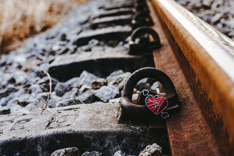 Close-up of padlocks on rock