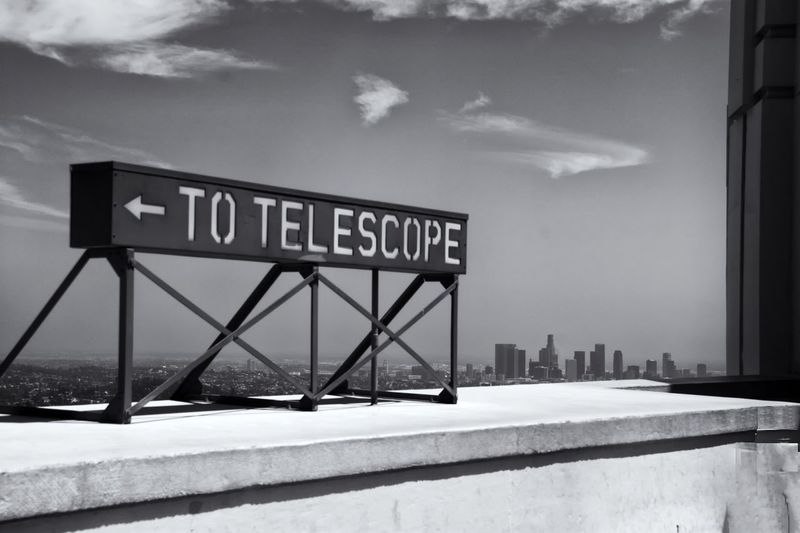 View of the Downtown Los Angeles Skyline, taken from the Griffith Park Observatory roof. DTLA Architecture Buildings Façade Losangeles Skyscraper Skyline The Architect - 2016 EyeEm Awards Black And White Blackandwhite Black & White Fresh On Eyeem  Cityscapes Cityscape Signs Vintage Signs Griffith Park Los Angeles, California