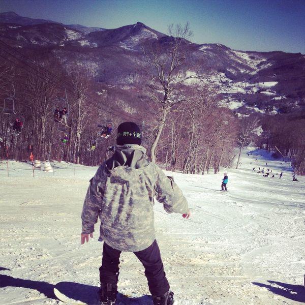 My boy snowboarding <3