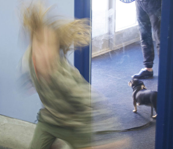 Blue Door Blurred Motion Dancing Boy Dog? Fun Happiness Happy Child  Whirling