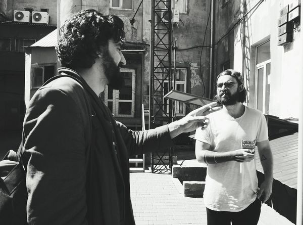 Action Shot  Conversation Friendship Friends Menstyle Smoking Beardstyle Beardedguy Beardlife Chatting Black And White Photography Black And White ExpressYourself Expression Stylish Sceptic Portrait Daytime Sunlight Contrast Contrajour Two People