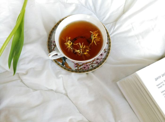 Top View Of Herbal Tea On Couch