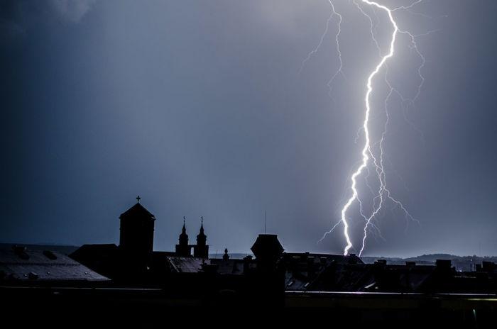 Bayreuth Church Towers City Dark Darkness And Light Lightning Silhouette Sky Skyline Thunderstorm